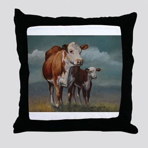 Hereford Cow and Calf in Pasture Throw Pillow